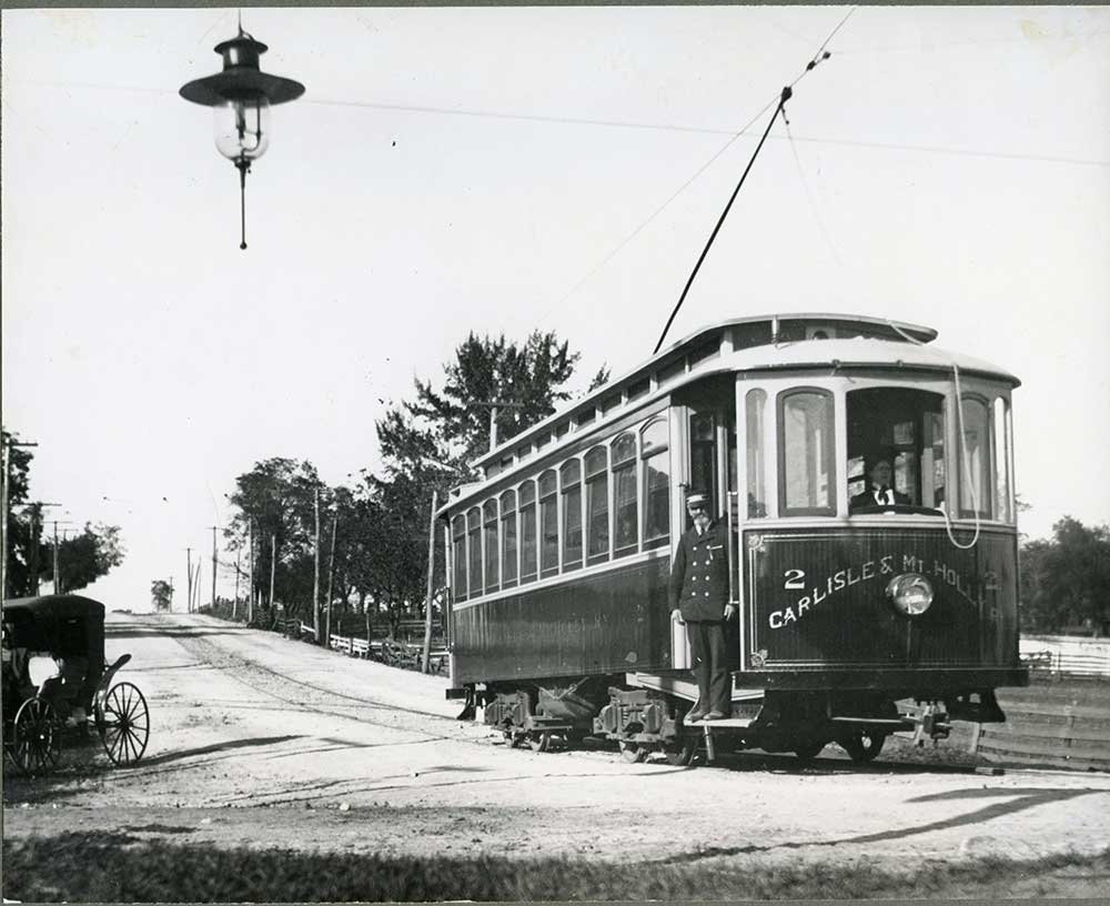 Carlisle and Mt. Holly trolley standing near Hanover and Ridge streets.
