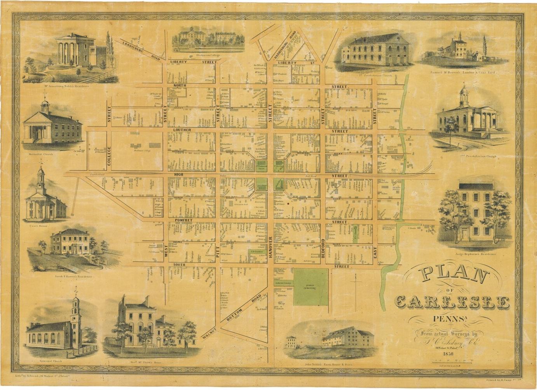 1850 plan of carlisle  24 u201d x 18 u201d